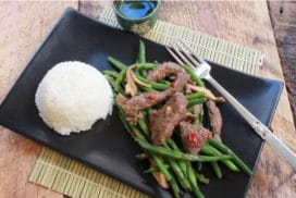 stir-fry beef green beans mushrooms