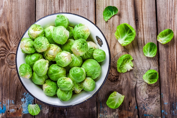 uncooked Brussels sprouts in a bowl