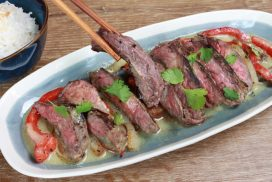 grilled beef green curry sauce