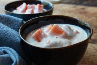 Coconut Dessert Soup with Sweet Potatoes (Bo Bo Cha Cha)
