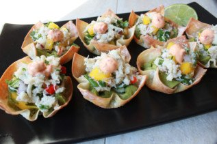 Spicy Crab Salad & Guacamole Wonton Cups