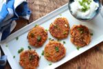 Five-spice Asian latkes on a white plate