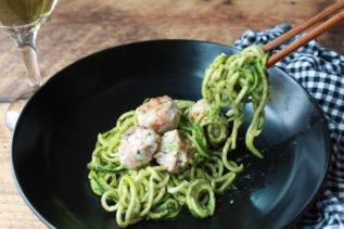 Thai Pesto Zucchini Noodles with Shrimp Meatballs