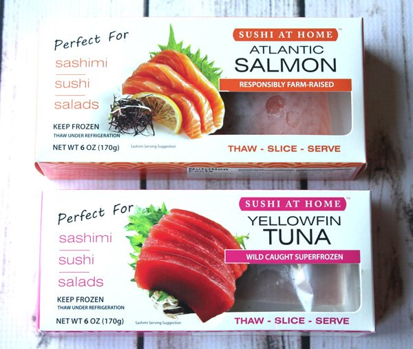 frozen sushi-grade salmon and tuna in a package
