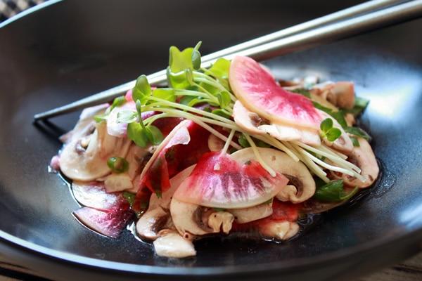 mushroom radish yuzu salad