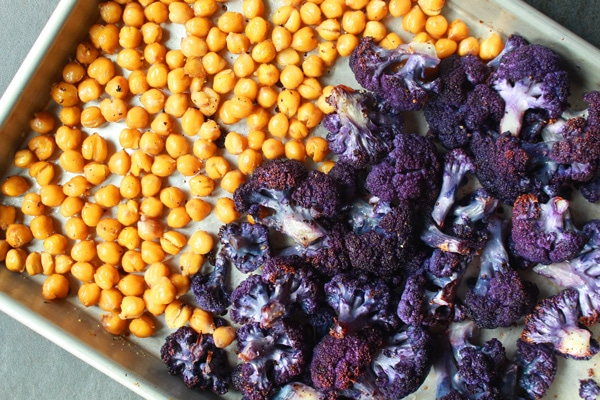 purple cauliflower and chickpeas