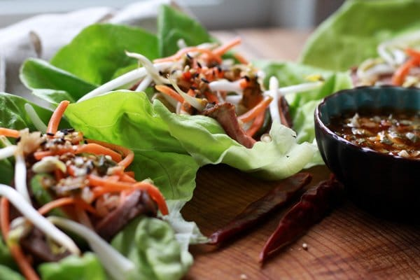 grilled flank steak lettuce cups
