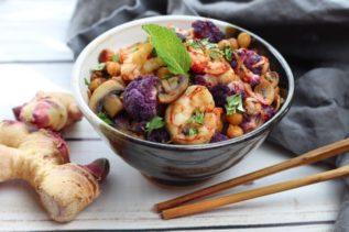 shrimp sambal roasted cauliflower and fresh ginger