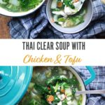 Thai clear soup in bowls