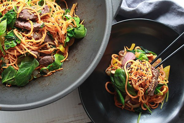 Korean sweet potato noodles beef