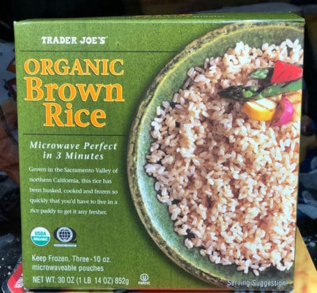 a box of Trader Joe's organic brown rice