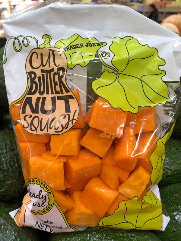cubed butternut squash from Trader Joe's