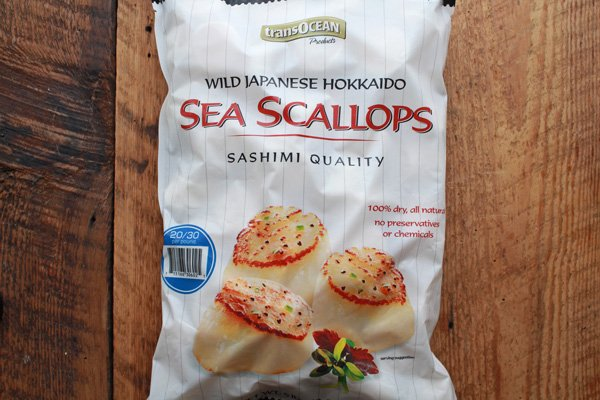 frozen sea scallops in a bag