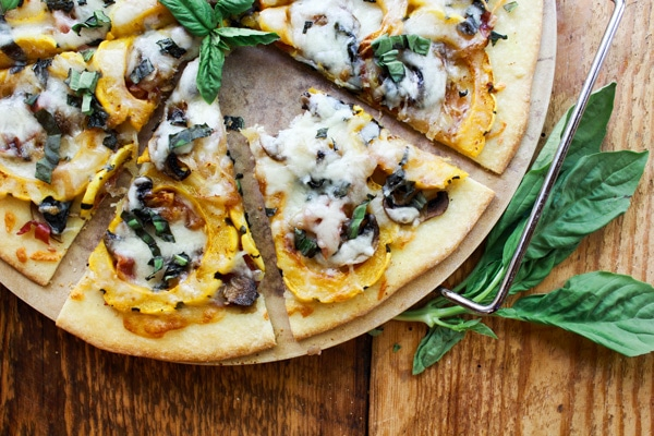 easy thin-crust pizza with roasted veggies