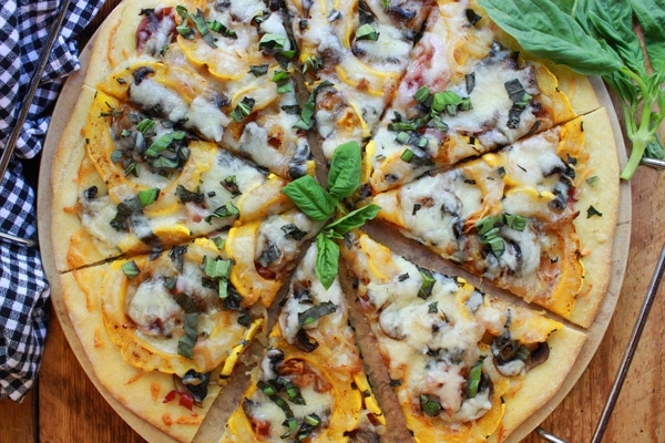 thin crust roasted delicata squash pizza