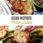 crispy potato pancakes with Asian dipping sauce