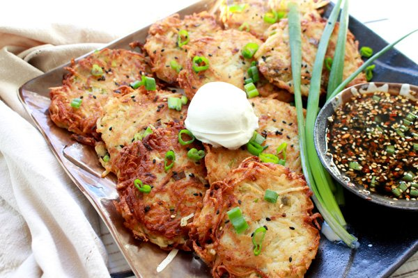 crispy potato pancakes with Asian dipping sauce