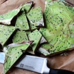 vibrant matcha holiday bark with sesame s