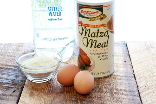 matzo ball ingredients: matzo meal, eggs, and seltzer water