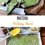 vibrant matcha holiday bark topped with black sesame seeds