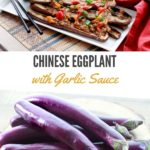 Chinese eggplant on plate with white rice