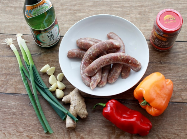 turkey sausage, orange and red bell peppers, garlic, ginger, scallions, sake, chili bean sauce