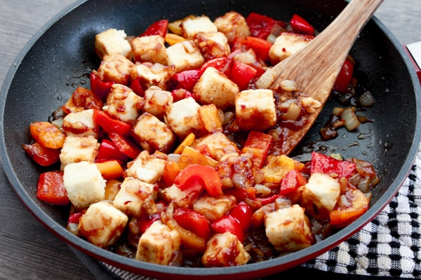 crispy tofu cubes tossed in a sweet and sour sauce