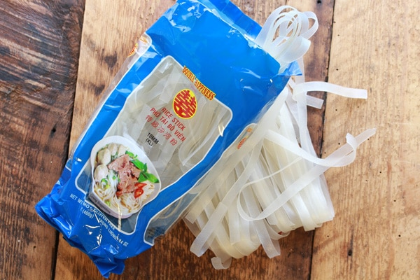 Asian rice noodles in the package
