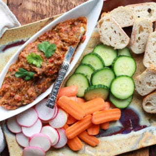 roasted eggplant dip with fresh veggies