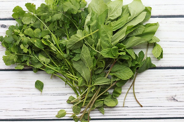 fresh green herbs on a countertop