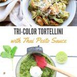 Tri-color tortellini in a bowl with Thai pesto sauce