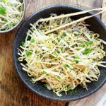 Japanese bean sprouts salad in a bowl with chopsticks
