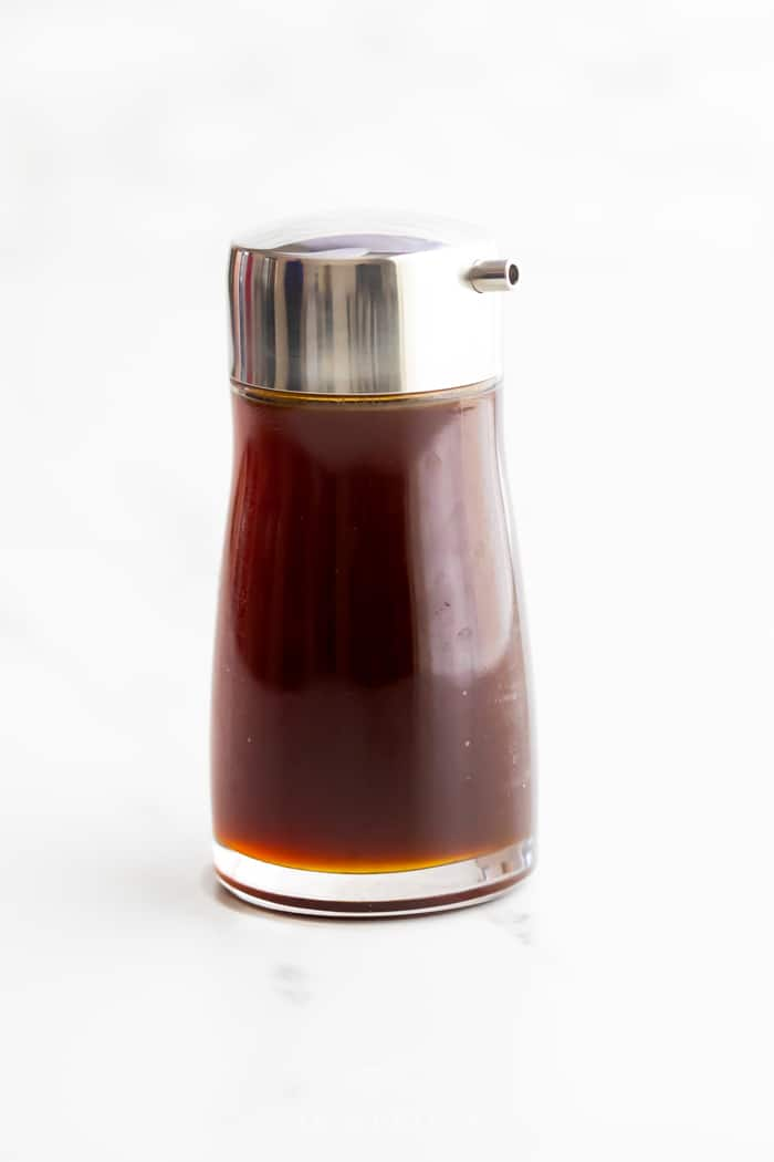 soy sauce substitute in a glass pour bottle
