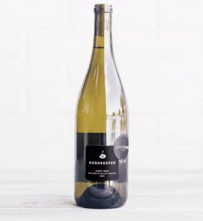 bottle of Hushkeeper Pinot Gris wine