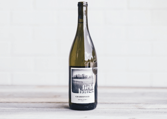 bottle of 2017 Field House chardonnay