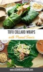 tofu collard wraps on a platter with a peanut sauce on the side