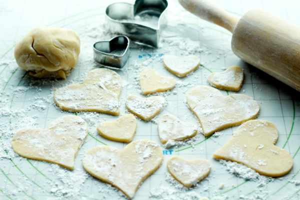 sugar cookie dough heart-shaped cutouts