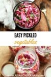 pickled vegetables in canning jars and in a glass bowl