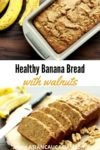 banana bread in a loaf pan with ripe bananas on the side