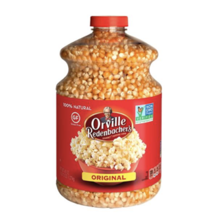A large jar of of Orville Redenbacher's original popcorn kernels