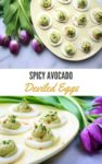 avocado deviled eggs in an egg tray with purple tulips on the side