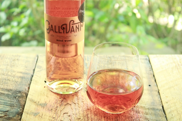 a bottle and glass of Gallivant Rosé from Scout & Cellar