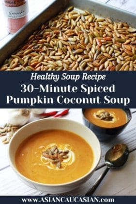 a tray of roasted pumpkin seeds and a bowl of pumpkin coconut soup