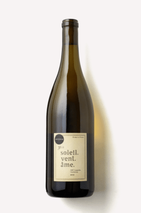 A bottle of Soleil Vent. Ame Chardonnay from Scout & Cellar wine