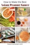 a collage of images of peanut sauce ingredients and peanut sauce