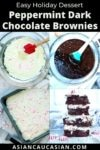 peppermint brownie mix in two glass bowls and peppermint brownies in a baking pan with a stack of baked peppermint brownies