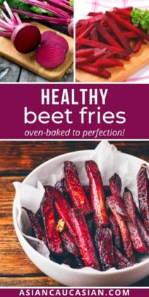 Red beet fries in a white bowl on a wooden board, and raw beets sliced on a wooden cutting board