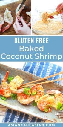 baked coconut shrimp on a serving platter with chopsticks and prepping the shrimp