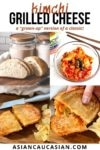 images of kimchi grilled cheese and a bowl of kimchi with sour dough loaf bread