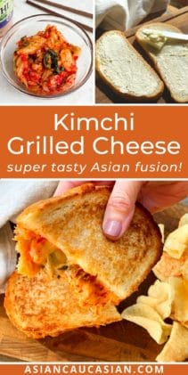 A woman's hand holing up half of a kimchi grilled cheese sandwich with potato chips on the side.